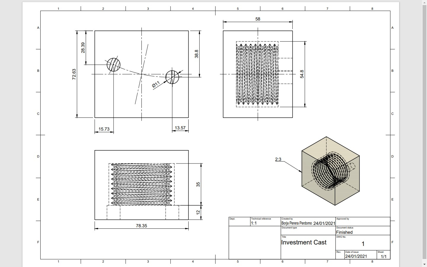 Tecnical drawing casting schematic molding mold