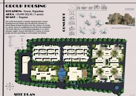 group housing, climate responsive design, bernoullis principle, vertical and horizontal air,vertical air,air movement, punctures, gap , increase in area, ews,lig,mig,affordable housing,housing,club house,proper accessibility,exterior accessibility,